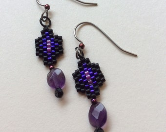 Amethyst and peyote stitch earrings