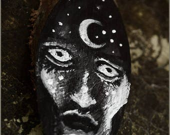 Nocturne Witch Moon Goddess wood slice - original painting on wood - pendant or mini wall art