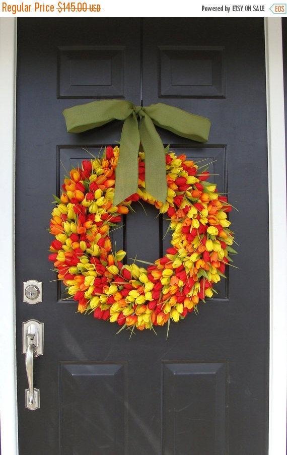 SPRING WREATH SALE Spring Decor- Tulip Spring Wreath, Wreath for Door Spring, Custom Colors and Ribbon, 24 inch Spring Wreath, Door Wreath