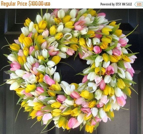 SPRING WREATH SALE Spring Wreath- Mother's Day Wreath- Spring Decoration- 20 inch Custom Tulip Wreath- Spring Wreath for Door  The Original