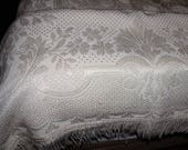 Vintage 1950 Italian silk embroidered bedspread with tassle fringe shipping included U.S.A and Canada