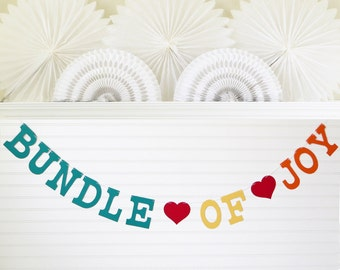 Bundle of Joy Banner - 5 inch Letters with Hearts - Baby Banner Baby Shower Banner Baby Shower Decor Baby Shower Garland New Baby Banner