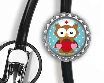 RN Love (Owl) Stethoscope Id Tag - Nursing Student, Gifts for Pediatric Nurses, Student Nurse Gift, Graduation Gift, Stethoscope A