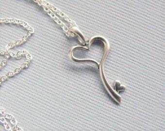 Sterling Silver Heart Key Necklace, Skeleton Key Necklace, Mother's Day Gift, Sterling Silver Key Charm, Key Charm Necklace, Gift For Her