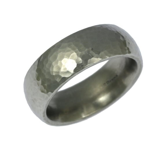 7mm Hammered Stainless Steel Mens Ring Mens Hammered Wedding