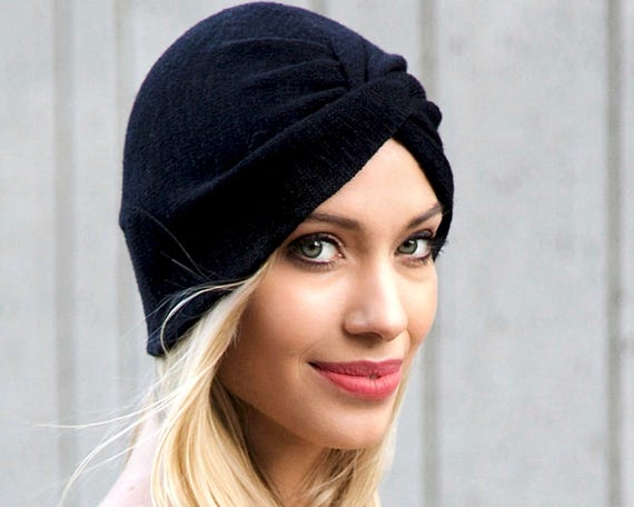 Turban Hat Women's Turban Black Evening Wear Soft Knit Chemo Turban 1940s Turban Hat Boho Turban Spring Fashion Retro Accessory Head Wrap