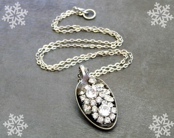 Silver Rhinestone Necklace,Bling Jewelry, Vintage Spoon Pendant