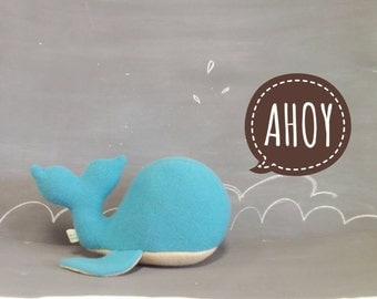 Whale, Handmade, Stuffed Animal, Toy, Children, Blue, Yellow, Plush