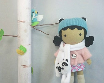"Handcrafted STUDIO DOLL 15"" - Girl in the Jacket with Panda Scarf. Handmade, Doll, Girl, Toy, Plush, Children, Gift"