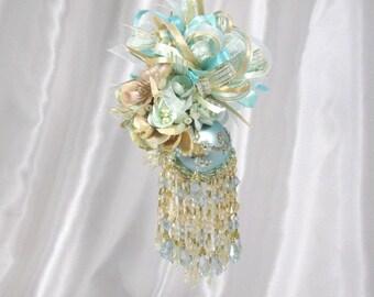 Golden Shores Aqua Gold Beaded Victorian Ornament with 90 Swarvoski Crystals