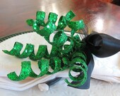 Napkin Rings Sparkly Green Curls with Black Ribbon - St Patrick's Day - Christmas - wedding