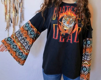 Grateful Dead Fire and Tiger Geometric Print Bell Sleeve Eco Friendly Cut Out open Off The Shoulder Upcycled Tshirt Tee Top Shirt OOAK