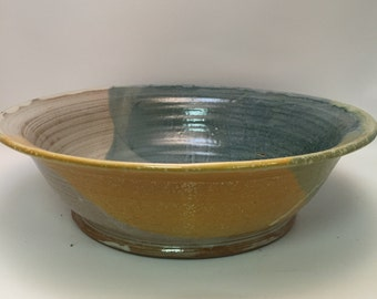 Handmade Ceramic Large Serving Bowl - Salad Bowl - Pasta Bowl - Ivory, Blue, and Yellow