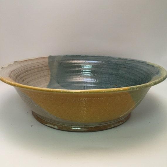 Handmade Ceramic Large Serving Bowl - Salad Bowl - Pasta Bowl - Ivory, Blue, and Yellow