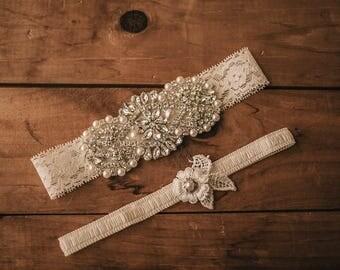 Wedding Garter Set / Bridal Garter Set / Lace Garter / Vintage-inspired Garter 344