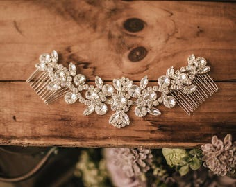 Bridal Hair Accessory, Bridal Headpiece, Wedding comb, Bridal comb, Rhinestone Hairpiece, Rhinestone clip 163
