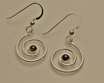 Garnet Spiral dangle ear wires.
