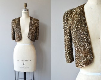 Curzon Club sequin jacket | vintage 1930s bolero | bronze sequin 30s cropped jacket
