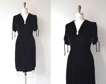 Notturno silk velvet dress   vintage 1940s dress   silk velvet 40s dress