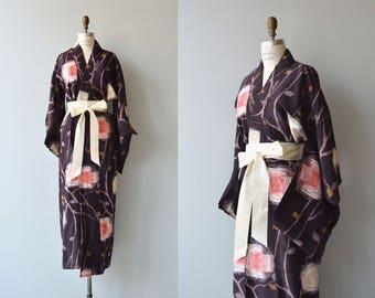 Cabbage Rose silk kimono | antique 1940s kimono | floral 20s kimono wrapper