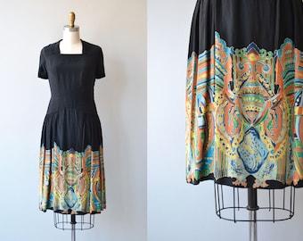 Zellij silk dress | vintage 1920s dress | printed silk 20s dress