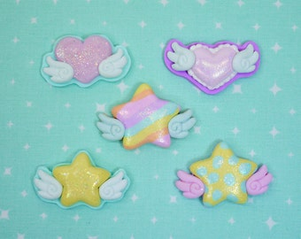 Fairy kei Stars and hearts with wings - polymer clay - CHOOSE pin or barrette backing