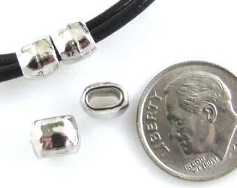 TierraCast Leather Crimp Beads-Rhodium Silver HAMMERTONE BARREL ID 4X2mm (4)