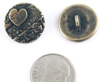 TierraCast Pewter Buttons- Brass Oxide AMOR ROUND 17mm (2)