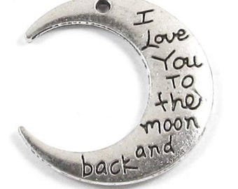 """Metal Pendants-Silver """"I Love You to the Moon and Back"""" 29x30mm (4 Pieces)"""