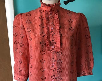 Red Clover - Late 1940's Coral Colored Clover Printed Ruffle blouse