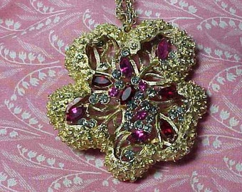 Vintage Coro Signed Chunky Gold tone Rhinestone Flower Pendant and Chain Necklace
