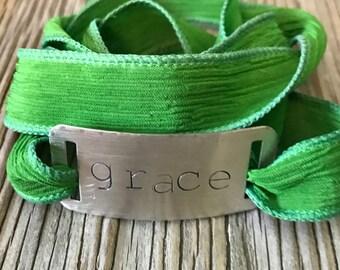 One little word- Green silk wrap bracelet nickel silver handstamped with grace- inspirational gift for her stackable bracelet