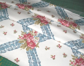 Ribbons & Roses Designer Cotton Fabric Remnant, Elanbach In the Country 'Uzes' - Blue, Red and Pink on White - 60 x 141 cm (1/2 yd)
