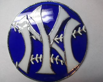 Stained glass NY Yankees on a baseball