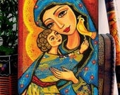 Mary and Jesus Folk Art Icon Religious Painting Mothers Love Mothers Day Mother and Child Wall Decor, Home Decor, woman art on wood, CG