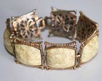 Mid Century Yellow and Gold Link Bracelet
