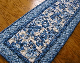 Quilted Table Runner, Blue and White Runner, Reversible, 14  x 39 inches