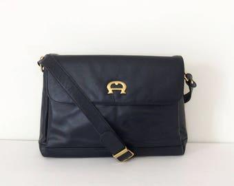 vintage Aigner bag // navy handbag purse // 1980's 90's navy blue tote