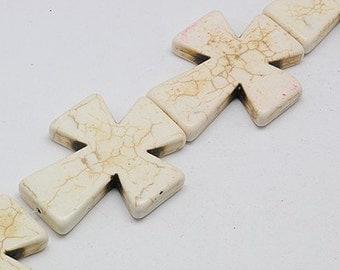 White Howlite Cross - Sold per bead - #TURQ262