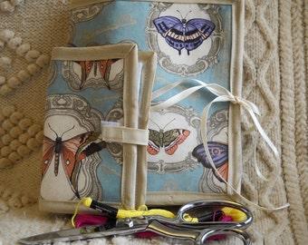 Antique Butterflies Sewing Caddy, Needle Book, Handwork Organizers