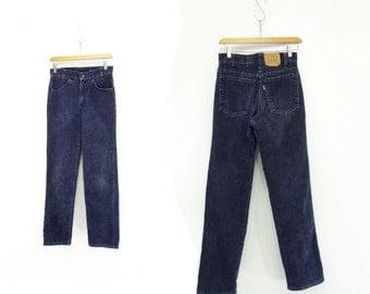 Vintage Levis Cords 80s Navy Blue Cords High Waist Levis 1980s Corduroy Jeans 80s Levis Blue Cords 80s High Waist Jeans Size 28 / 30