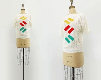 80s White Sweater 80s White Knit Top Short Sleeve Sweater Novelty Knit Sweater Geometric Knit Top Yellow Red Green White Summer Sweater s