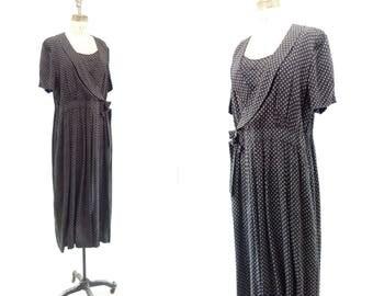 Vintage Midi Dress 1990s Flapper Dress 30s Style Dress Black White Dress 90s Flapper Dress Polka Dot Dress 20s Style Dress Short Sleeve L