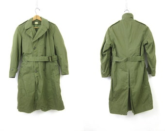 Long Green Army Trench Coat Military Issue Overcoat Commando Double Breast Grunge Vintage Mens Belted Trench Jacket Parka Small