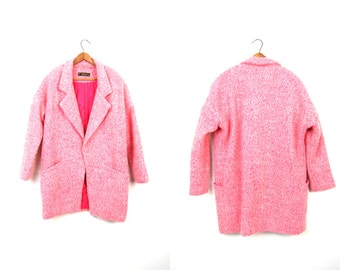 Vintage Pink Boucle Wool Coat Mod 90s Dress Coat Quilted Hot Pink Blazer Jacket Preppy Hipster Modern Chic Women's XS Small