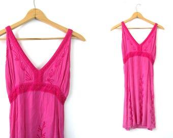 Bright Pink Indian dress Embroidered Mini sundress Sequins Festival sun dress Hippie 1990s Boho beach dress size Medium