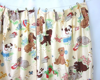 Vintage Pound Puppies Curtains pair of children's curtains drapes 1980s Dog Cartoon Fabric Kid's Room Home Decor Retro Hipster 2 panels