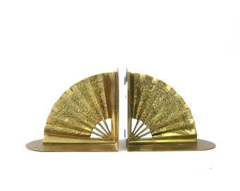 Pair of Brass Bookends Gold Mid Century 1960s MOD Asian home decor Vintage Fan Book Ends Display Retro Hipster