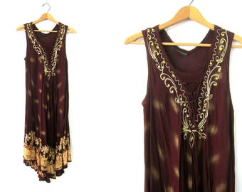 Boho Dress SHEER Brown Tribal Batik Dress 90s Summer Midi Tent Dress Festival Breezy Indian Palm Tree Embroidery Hippie Ethnic Free Size
