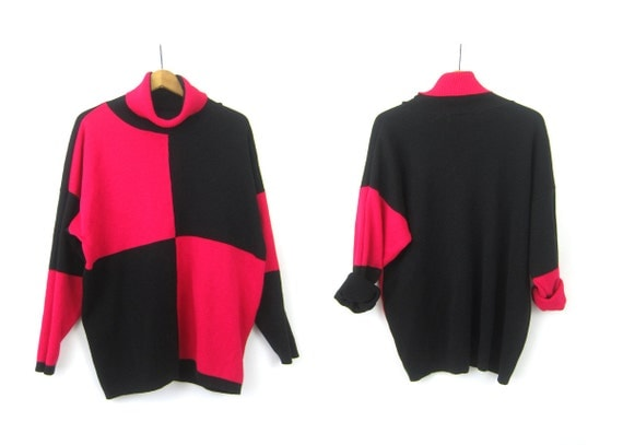 Pink & Black Colorblock Sweater 1980s Baggy Retro Graphic Turtleneck Pullover Hipster Casual Urban Street Women's Large